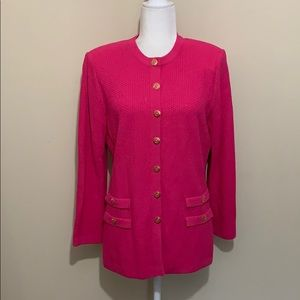 St. John Collection Knit Hot Pink Blazer Jacket